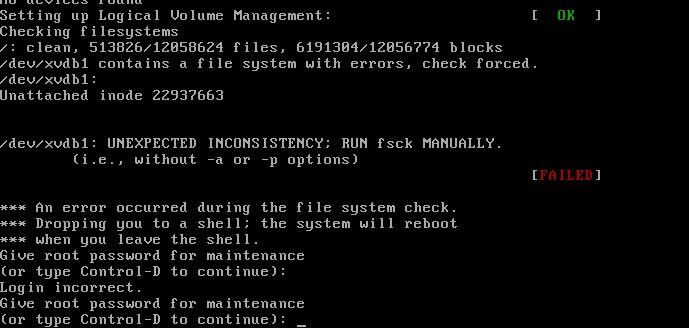 阿里云服务器 ECS Linux 文件系统异常导致服务器启动失败解决方法